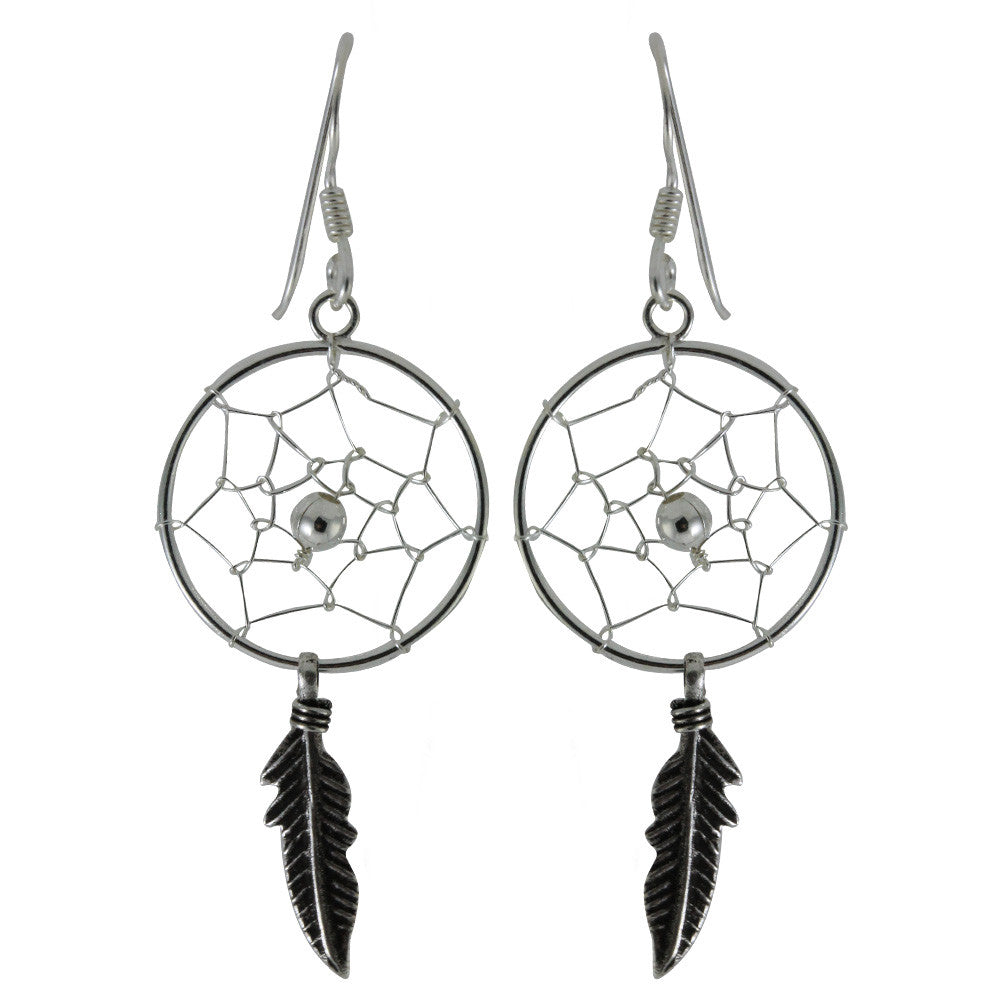 Sterling Silver DreamCatcher Dangle Earrings