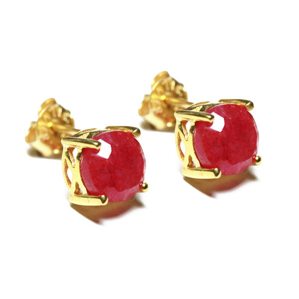 Gold-Dipped Ruby Pink Stone Stud Earrings