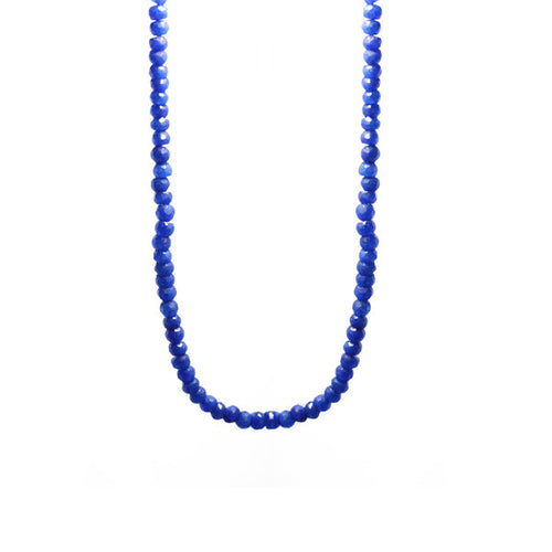 Mini Blue Stone Beaded Necklace 30 inch