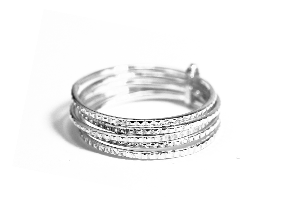 """Studded"" Sterling Silver Thin Band Ring Stacking Set of 5"