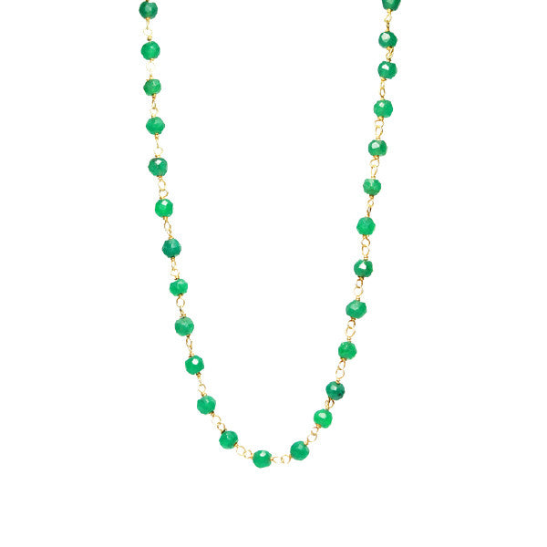 Mini Green Onyx Bead Station Necklace 30 inch