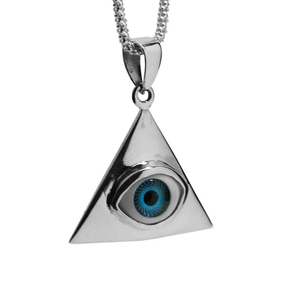 "Sterling Silver Green ""Eye of Providence"" Pendant Necklace"