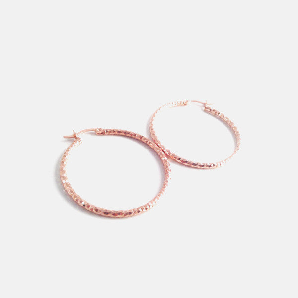 "Rosy ""Galaxy"" Diamond-Cut Elliptical Hoop Earrings"
