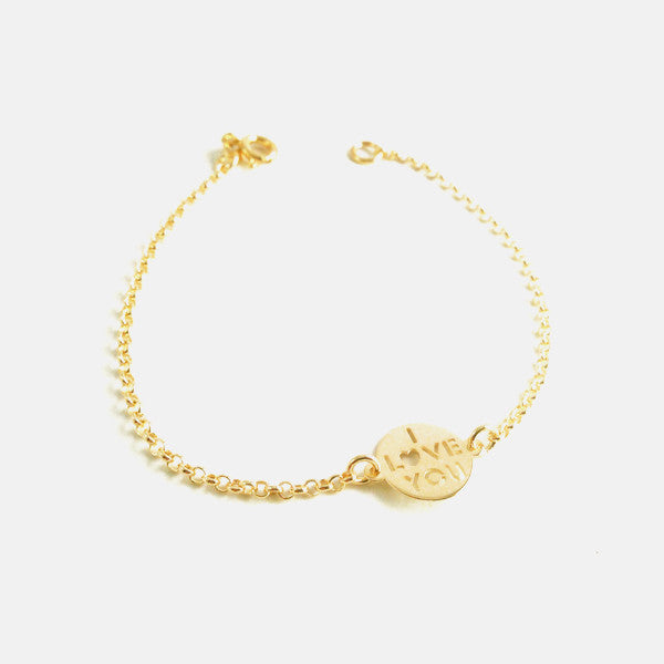 "Yellow Goldtone ""I Love You"" Charm Bracelet 7 inch"