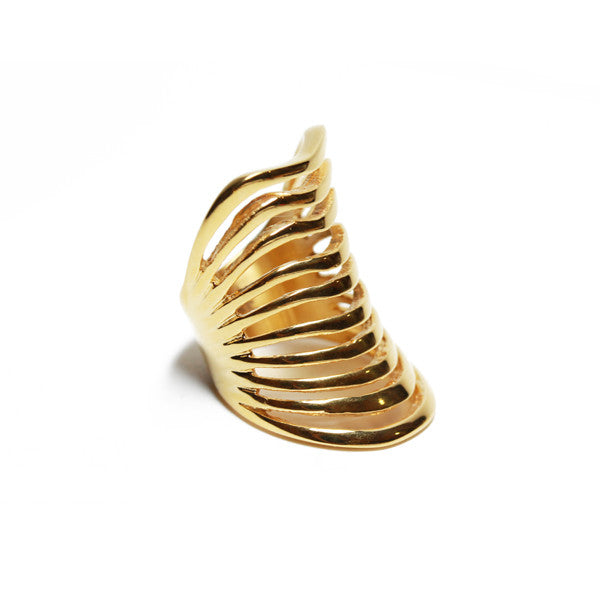 Golden Armor Cage Knuckle Ring