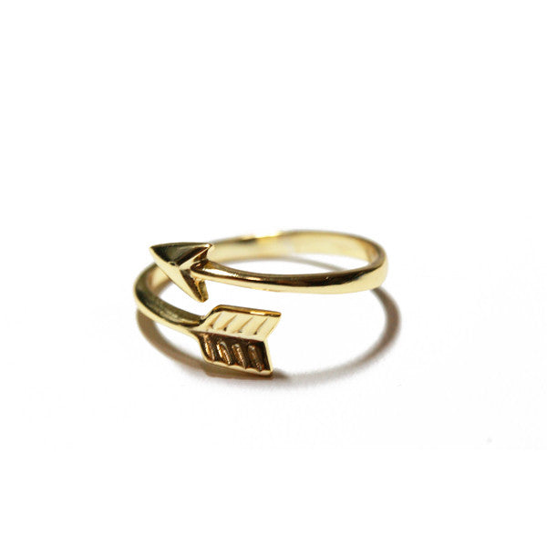 Gold-Dipped Arrow Wrap Ring