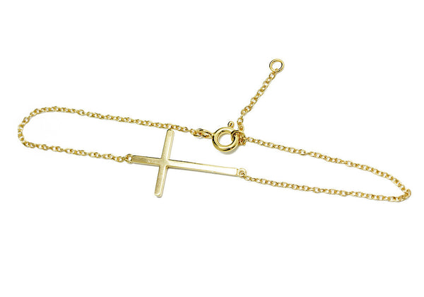 Gold-Dipped Horizontal Cross Bracelet 7 inch