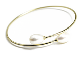 """Lily"" Gold-Dipped Double Pearl Bangle Bracelet"