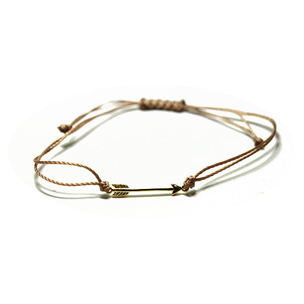 Gold-Dipped Chevron Arrow Tan Adjustable String Bracelet