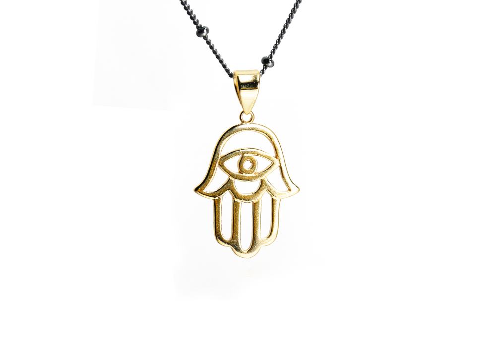Gold-Dipped Evil Eye Hamsa Pendant with Black Chain Necklace