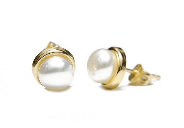 """Frosty"" Gold-Dipped Freshwater Pearl Stud Earrings 8mm"