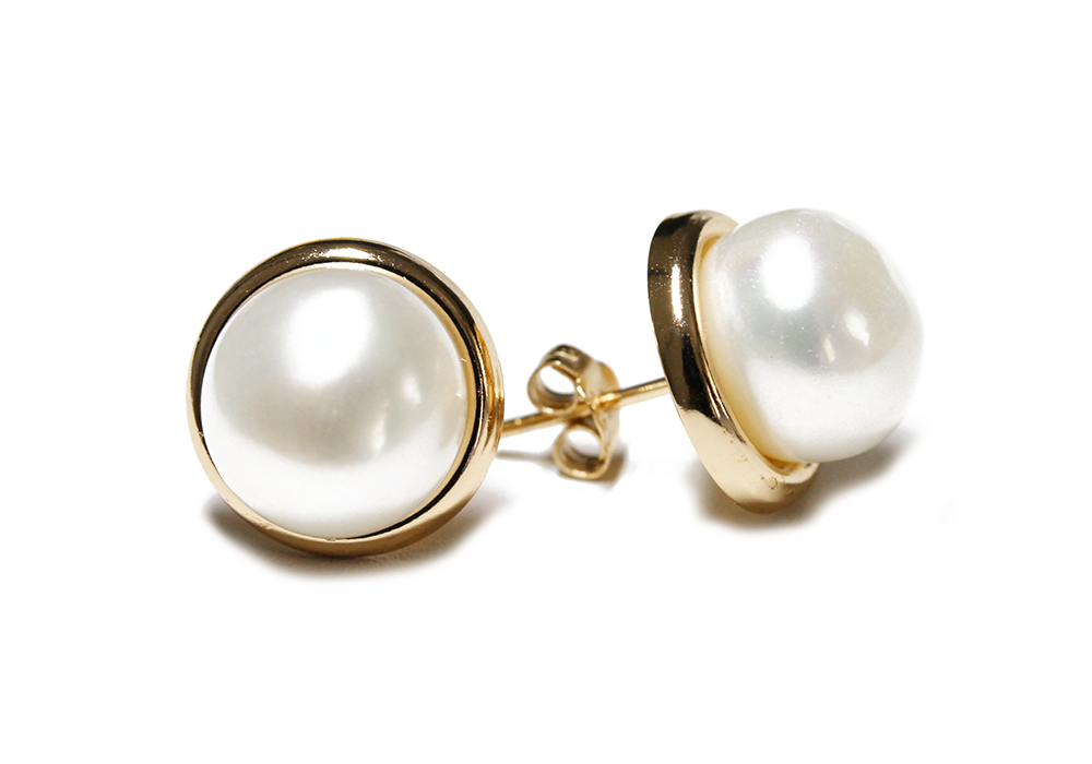 """Frosty"" Sterling Silver Freshwater Pearl Stud Earrings 8mm"