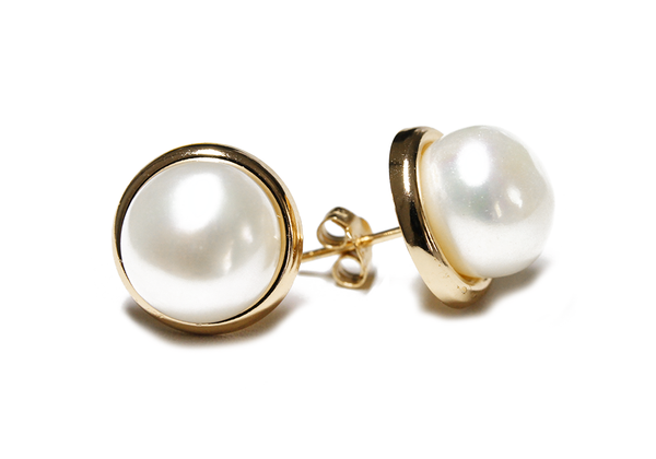 """Frosty"" Gold-Dipped Freshwater Pearl Stud Earrings 10mm"