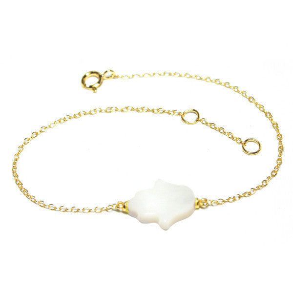 Gold-Dipped Mother of Pearl Hamsa Bracelet