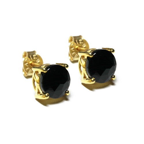 Gold-Dipped Black Onyx Stud Earrings