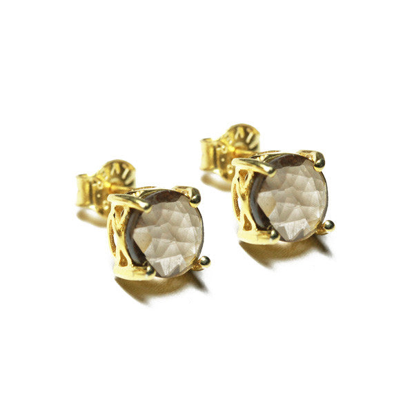 Gold-Dipped Smoky Topaz Earrings