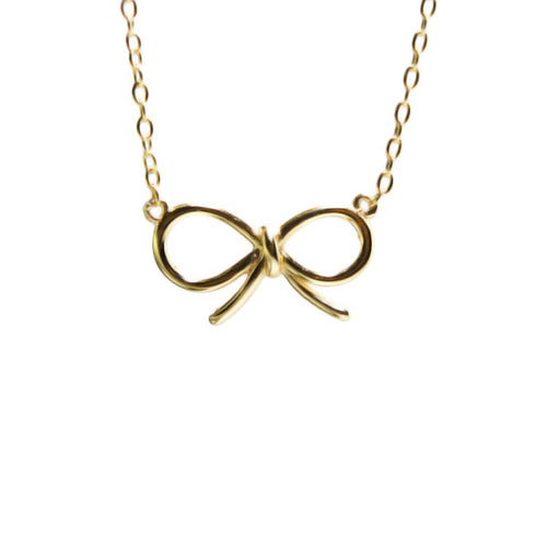 Gold-Dipped Cute Ribbon Bow Necklace 17 inch