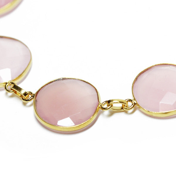 Gold-Dipped Pink Rose Quartz Bracelet