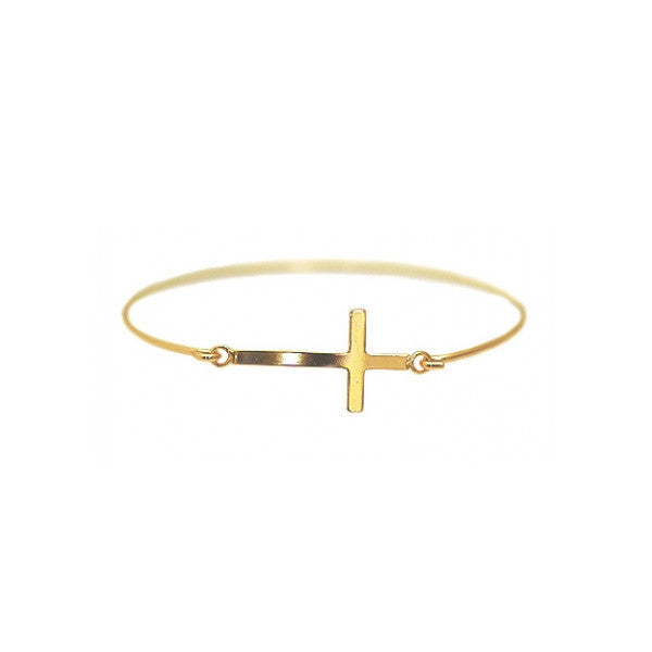 Gold Dipped Sideways Cross Bangle Bracelet Slim