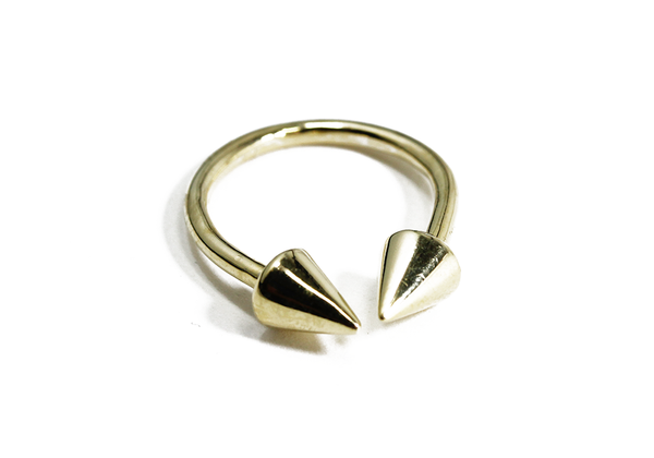 "Sterling Silver Pyramid ""Spike"" Stud Ring"