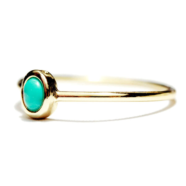 """Turkoise"" Gold-Dipped Mini Blue Dot Ring"