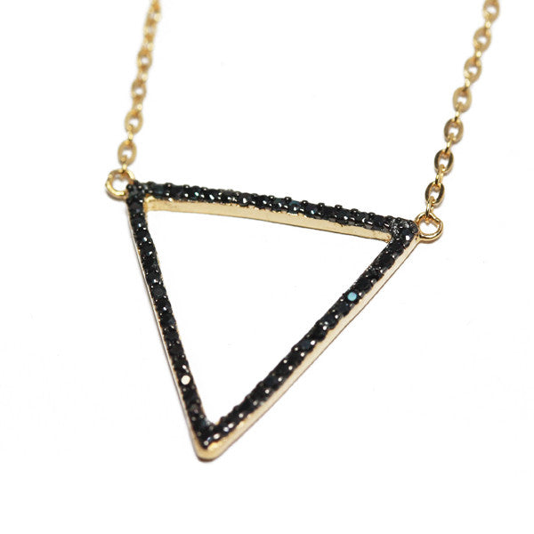 Gold-Dipped Black Stone Triangle Necklace CZ
