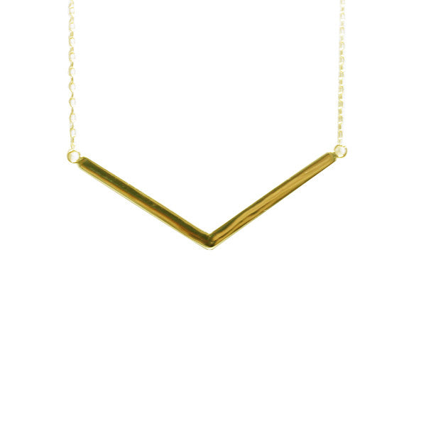"Gold-Dipped ""Vendetta"" Bar Pendant Necklace"