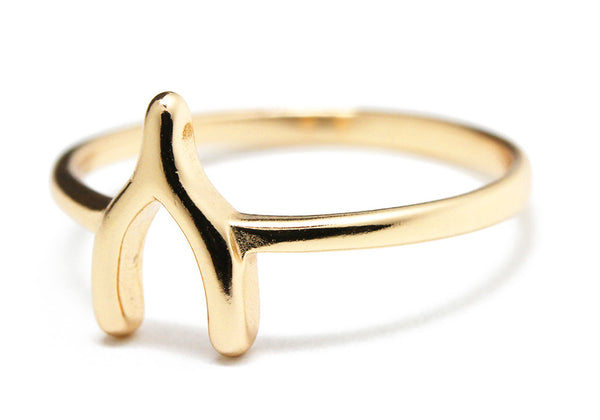 """Lucky"" Gold-Dipped Wishbone Ring"