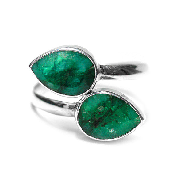 Sterling Silver Green Stone Bypass Ring