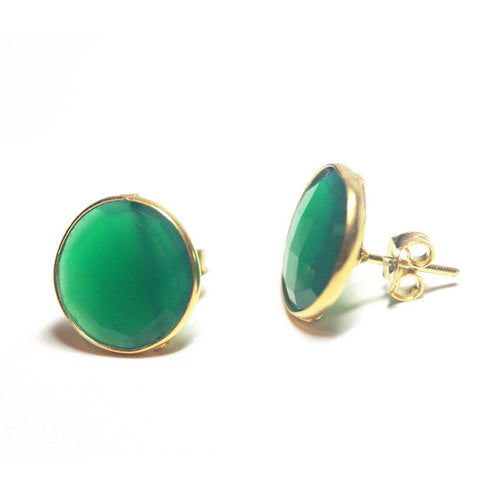 Gold-Dipped Green Onyx Earrings