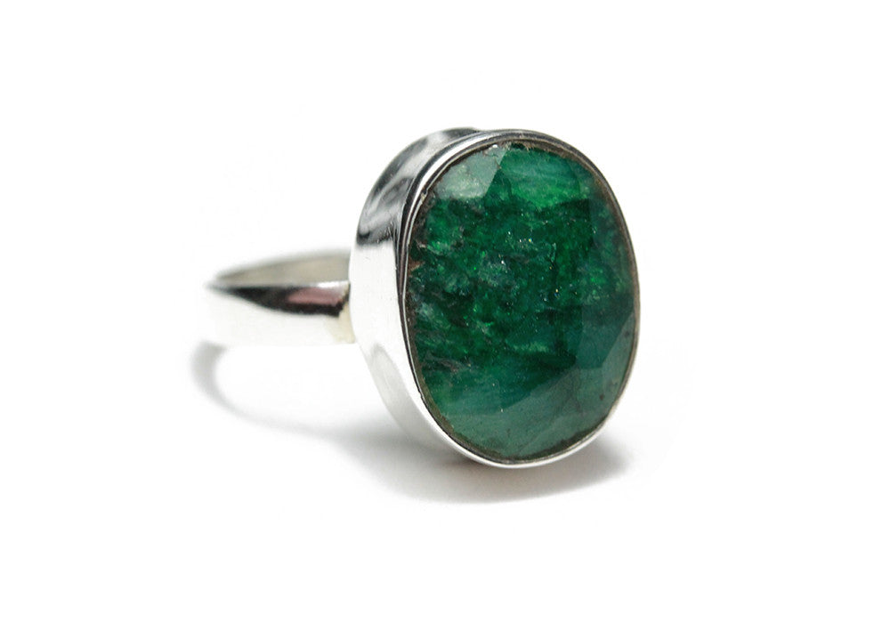 Sterling Silver Green Onyx Gemstone Ring