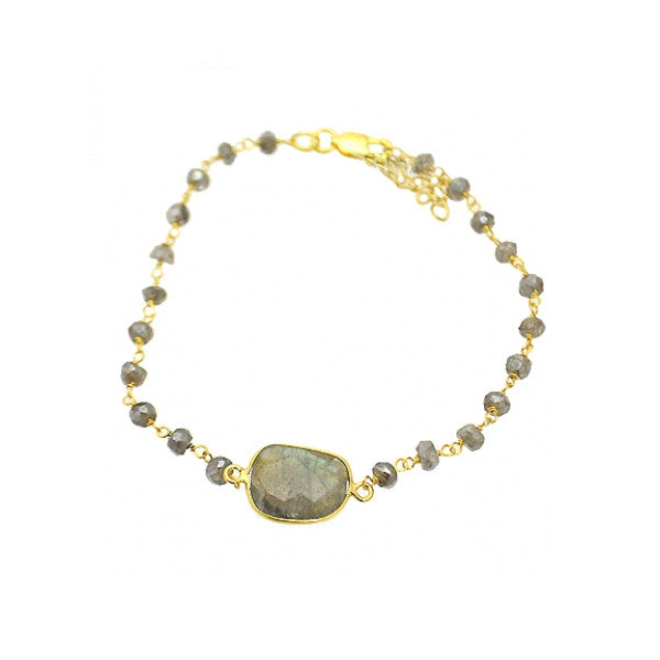 Gold-Dipped Grey Labradorite Bracelet