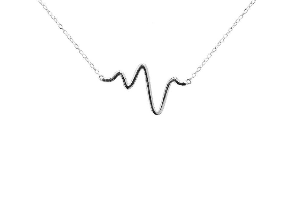 "Sterling Silver ""Heartbeat"" Necklace 16 - 17 inch"