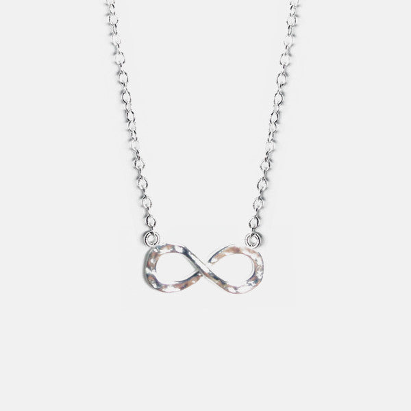 Matte Sterling Silver Infinity Necklace 16 inch - 17 inch