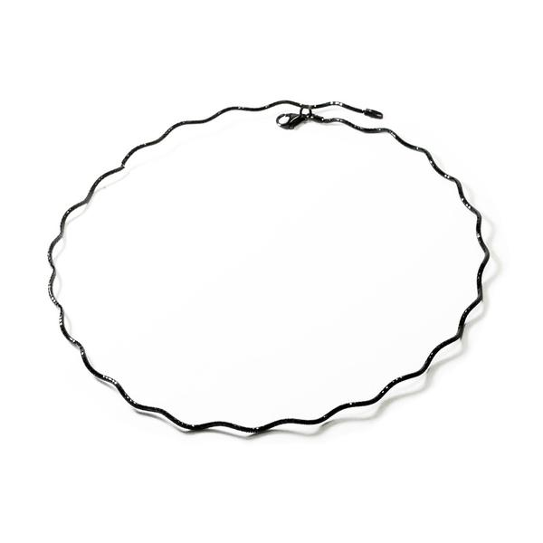 """Ziggy"" Sterling Silver Glitter Choker Collar Necklace"