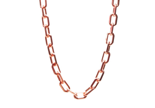 Rosy Square Link Long Chain Necklace 30 inch