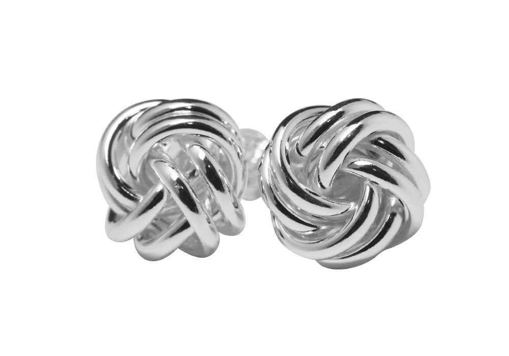 "Sterling Silver Love Knot Earrings Studs ""Knotty"""