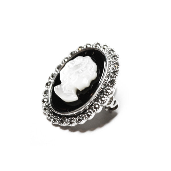 Vintage Style Sterling Silver Marcasite Cameo Brooch Pin with Black Onyx