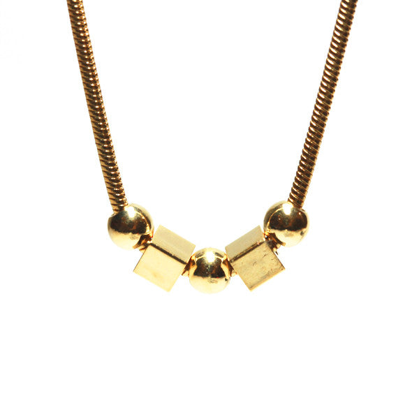 Gold Fill Bead Charm Geometric Pendant Necklace