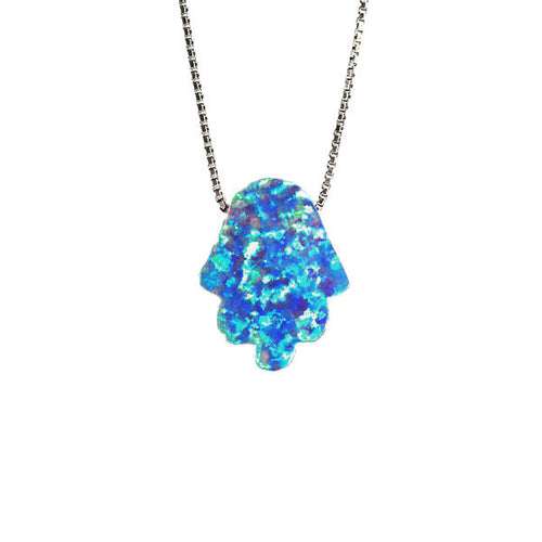 Gold-Dipped Blue Opal Hamsa Necklace