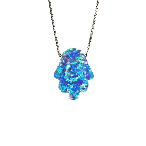 Rosy Blue Opal Hamsa Necklace