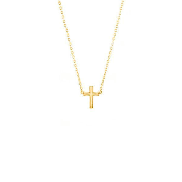 Gold-Dipped Mini Cross Necklace 16 inch
