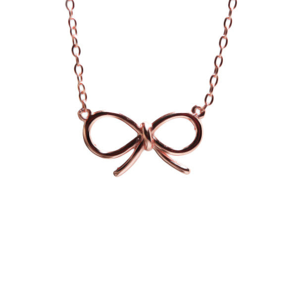 Rosy Cute Ribbon Bow Necklace 17 inch