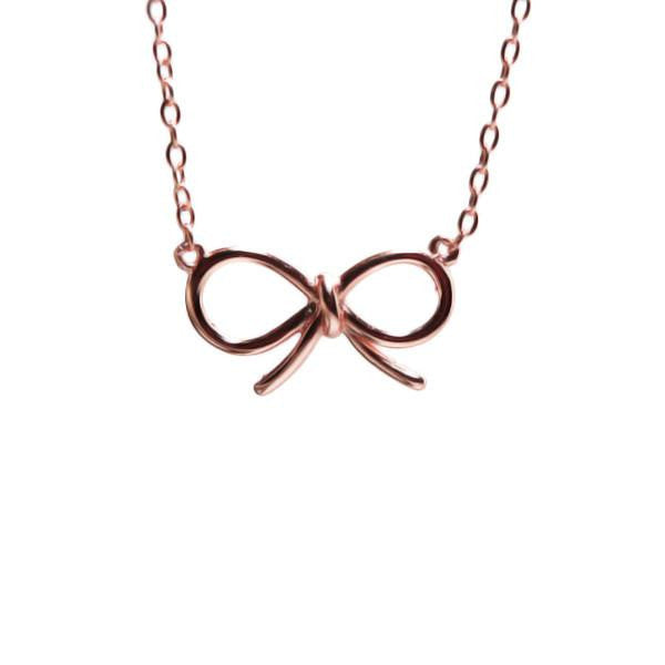 Sterling Cute Ribbon Bow Necklace 17 inch