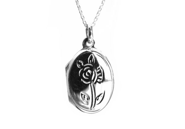 Sterling Silver Round Mini Rose Locket Pendant Necklace