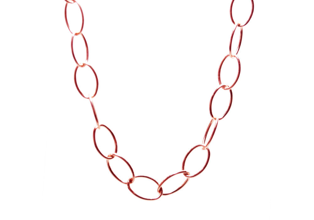 oval rhodium double link necklace plated
