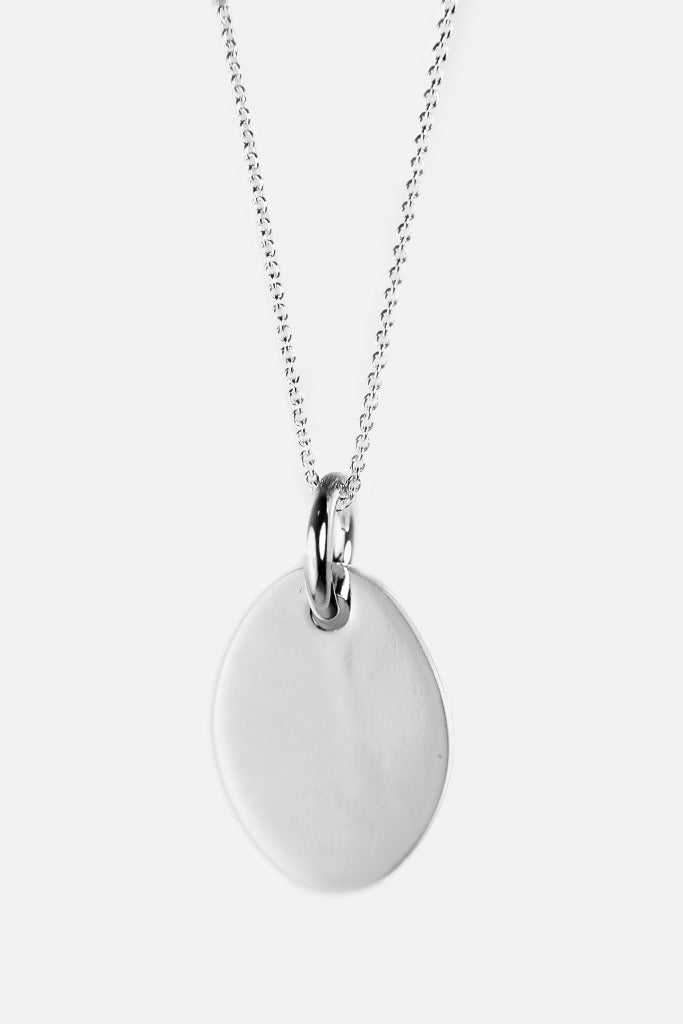 Sterling Silver Oval Tag Pendant Necklace