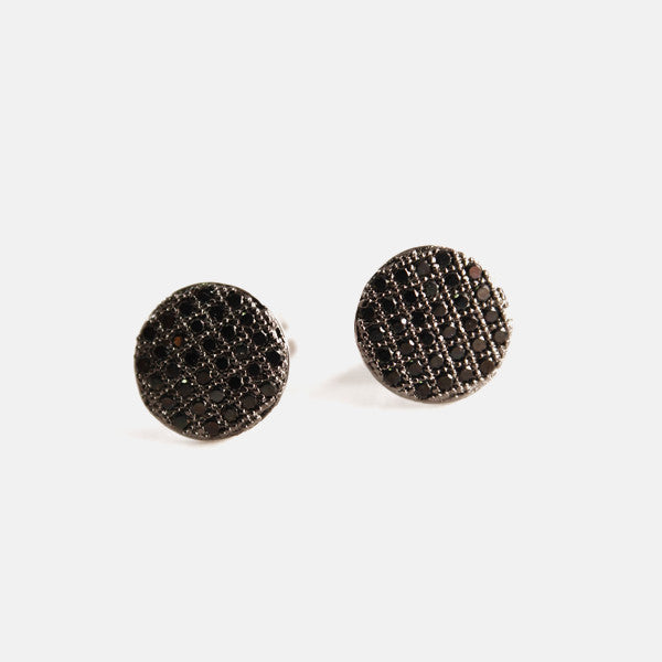 Sterling Silver Micro Pave Black CZ Stone Coin Earrings