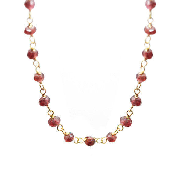 Red Mini Stone Beaded Station Necklace 36 inch