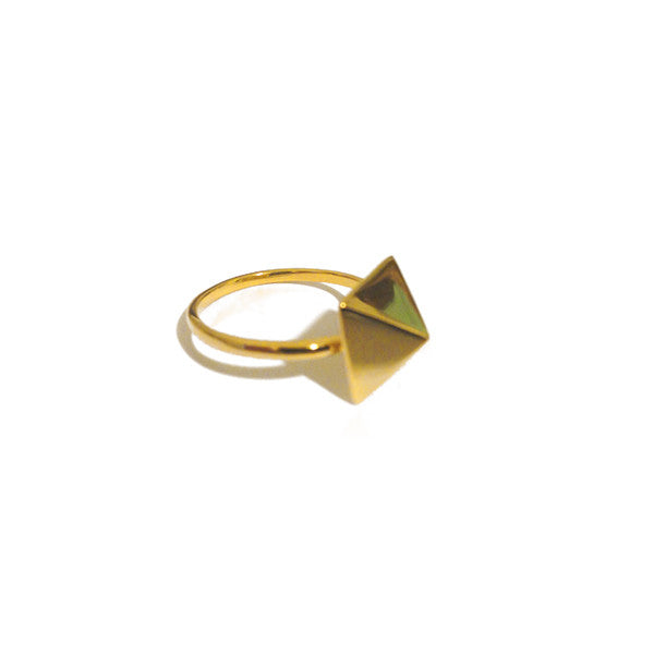 Gold-Dipped Pyramid Stud Ring